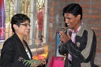 Floral welcome of soft skills trainer JC Rashmi Priya