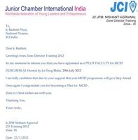 MCID Invitation Letter from Zone Director Training, JCI India